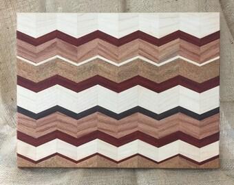 "Chevron Cutting Board  12"" X 15 1/2 "" X 3/4""   Maple-Oak-Mahogany-Paduak-Walnut"