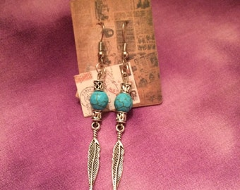 Silver and Turquoise Feather Dangle