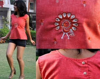 pink cotton top/casual cotton top/summer blouse/womens blouse/hand embroidered blouse/made to order
