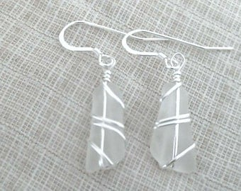 White Sea Glass and Sterling Silver Earrings 082812