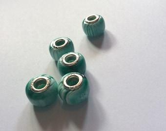 European beads / green beads / silver beads / murano beads / beads