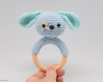 Handmade crochet rattle - Spot the puppy