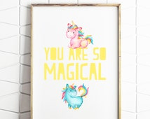 70% OFF SALE unicorn print, unicorn printable, unicorn gift, dreams printable, rainbow unicorn, girl printable, nursery decor, instant print