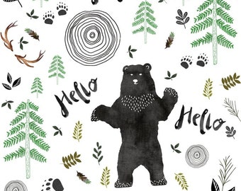 Woodland bear in black and white quilting fabric fabric for Black and white childrens fabric