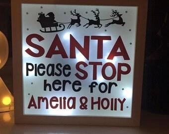 Santa Stop Here Christmas Light Up Box Frame - Personalised