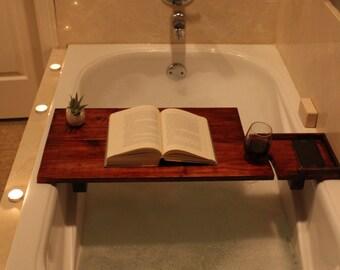 Custom Wooden Bath Caddy, Wine, Bath Tray