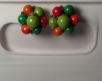 Vintage Earrings beaded cluster clip on Made in Hong Kong green and orange