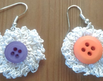 Crochet flower earrings - one of a kind, handmade