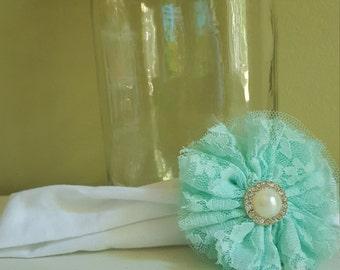 Pearl rhinestone lace headband
