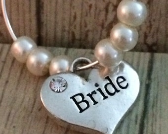 Bride wine glass charm