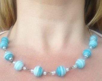 Pale green stripy bead necklace