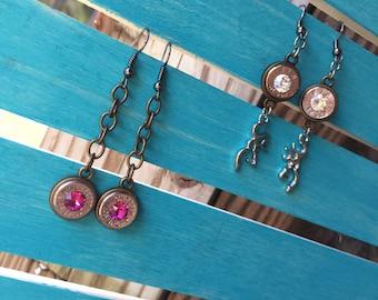Bullet Earrings -post/dangles -bullet jewelry