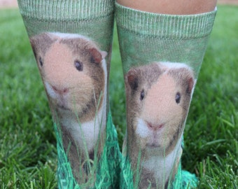 Guinea Pig Grass Socks | Unique Animal Novelty Sock | Fun Cool Birthday Gifts |Stocking Stuffers |Animal Lover Gift |Kids Socks| Girls Socks