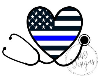 Nurse Stethoscope Supporting Police Wife and Law Enforcement Thin Blue Line Heart Vinyl Decal