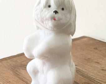 Vintage Avon Milk Glass Dog Bottle