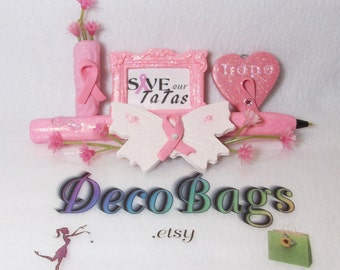 Breast Cancer Deco bag of the month club subscription, stuffed with tons of pink for October: pens magnets charms and pins
