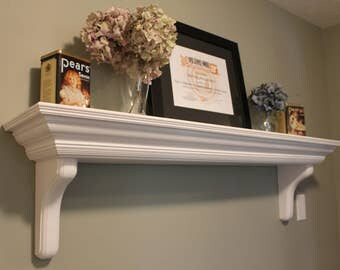 SALE! Last one! Victorian style antiqued shelf, slightly distressed finish, aged look, crown molding, white, solid wood