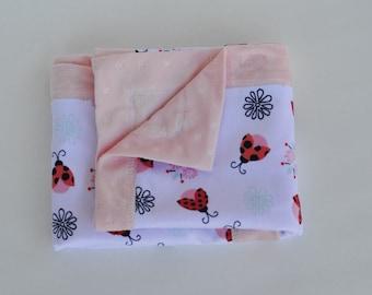 Baby Girl Blanket Pink Ladybug Soft Minky