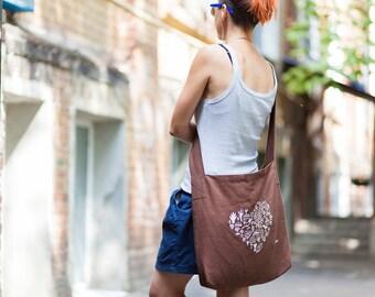 Natural Linen bag, Brown Embroidered bag with one handle and lining, Shoulder bag, Market bag, Beach bag, Tote bag, Trevel bag