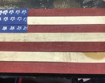 Rustic flag on reclaimed wood    Free Shipping