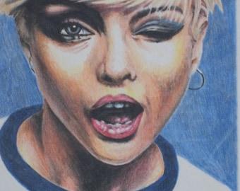 Blondie  11x14 original colored pencil with black frame