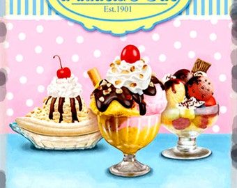 Ice-Cream Parlour  Metal Sign, Vintage, Retro, Shabby-Chic, Wall Plaque / Fridge Magnet
