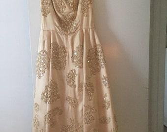 Hand beaded peach satin dress