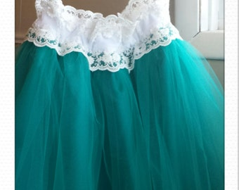 Teal n Lace tulle skirt