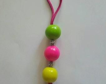 Neon Polymer clay keychain, zipperpull