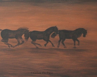 Triple gallop, acrylic on canvas, 30 x 90 cm