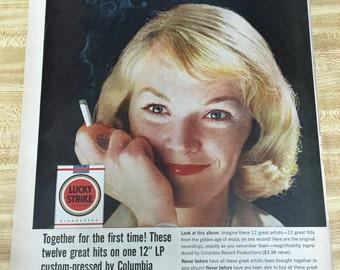 Lucky Strike Cigarette Vintage Ad 1960