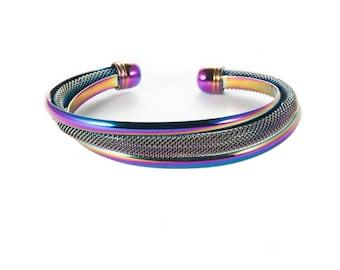 Infinacolor Titanium Rainbow Cuff Jewelry