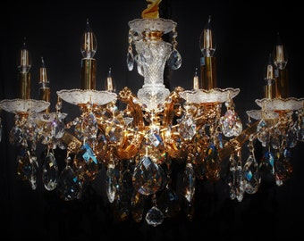 Italian Concept 8 Light Heavenly Gold Maria Theresa Crystal Chandelier