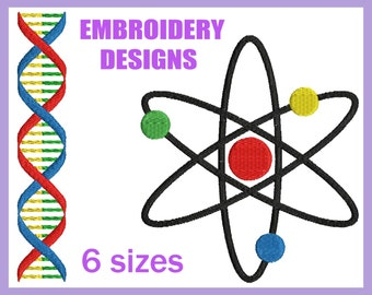 Science DNA and Molecule - Designs for Embroidery Machine Digital Graphic Design File Stitch Instant Download Commercial Use school 177e
