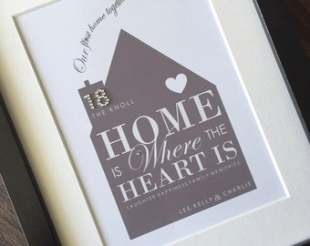 Personalised Framed Print - First Home Together Family Gift