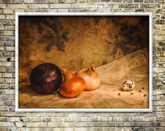 The maverick - print, artwork, color photography, photo, kitchen, onions, egg, classical still life, instant download