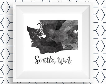 Customizable Printable Watercolor City/State Image