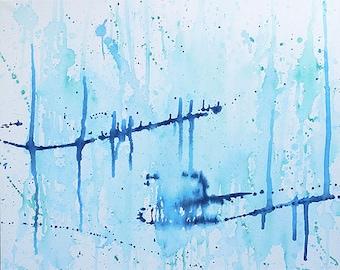 Blue Streak Splatter Painting