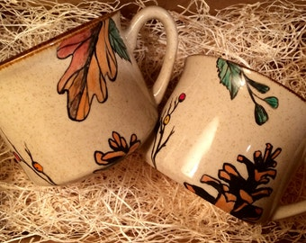 "Two Hand Painted, Upcycled ""Autumn Breeze"" Mugs"