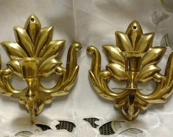 Solid Brass Leaf Sconce Set