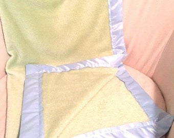 Fuzzy Pale Green - Blue Satin Trimmed Baby Blanket