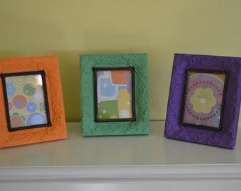 Set Of 3 orange green purple art. 12 x 10