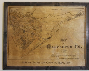 Historical map of Galveston County, Texas, engraved on wood --FREE SHIPPING!--