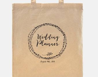 Wedding Planner gift - Tote Bag - 100% cotton goodie bag customized with your wedding date