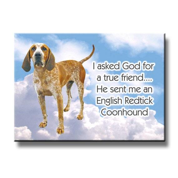 English Redtick Coonhound True Friend Fridge Magnet