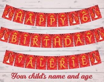 Elena of Avalor banner - DIY princess elena happy birthday banner- thank you card- Digital file for print