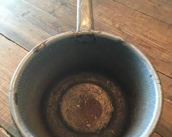 Vintage Grey Granite Enamelware Pot