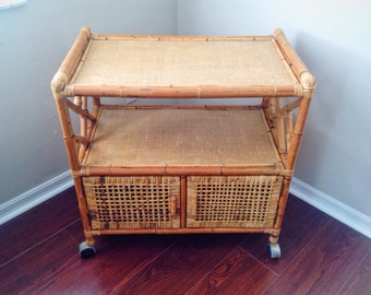 Vintage Chinoiserie Wicker Bamboo Rattan Rolling Cart with Two Opening Doors