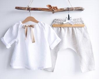Light tunic for girls of natural linen, linen vest