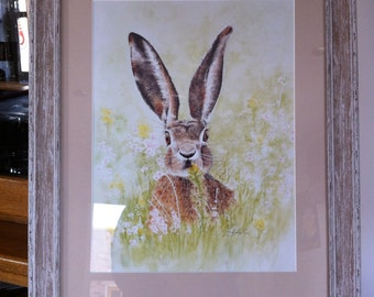 Hare print mounted and framed